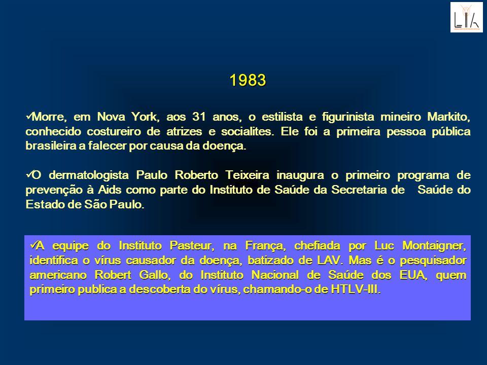 1983 Morre, em Nova York, aos 31 anos, o estilista e figurinista mineiro Markito, conhecido costureiro de atrizes e socialites. Ele foi a primeira pes