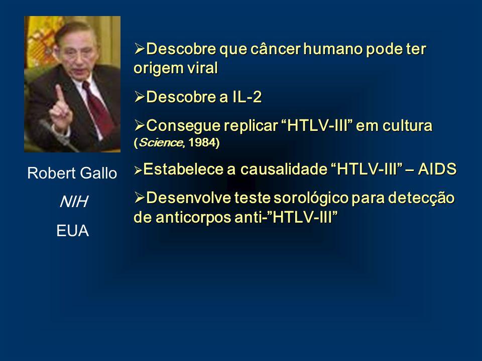 Robert Gallo NIH EUA Descobre que câncer humano pode ter origem viral Descobre que câncer humano pode ter origem viral Descobre a IL-2 Descobre a IL-2
