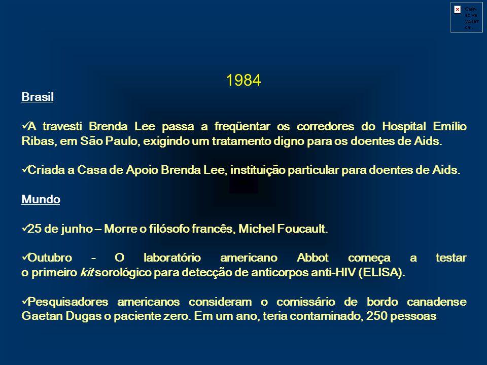1984 Brasil A travesti Brenda Lee passa a freqüentar os corredores do Hospital Emílio Ribas, em São Paulo, exigindo um tratamento digno para os doente