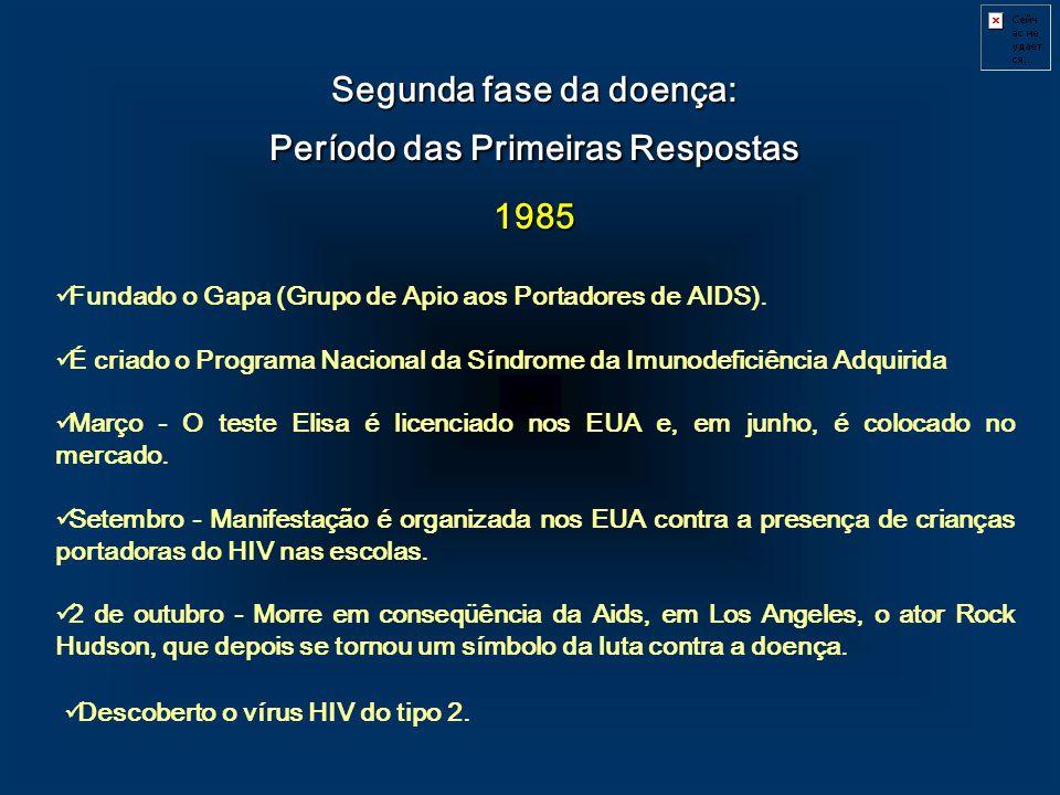 Segunda fase da doença: Período das Primeiras Respostas 1985 Fundado o Gapa (Grupo de Apio aos Portadores de AIDS). É criado o Programa Nacional da Sí