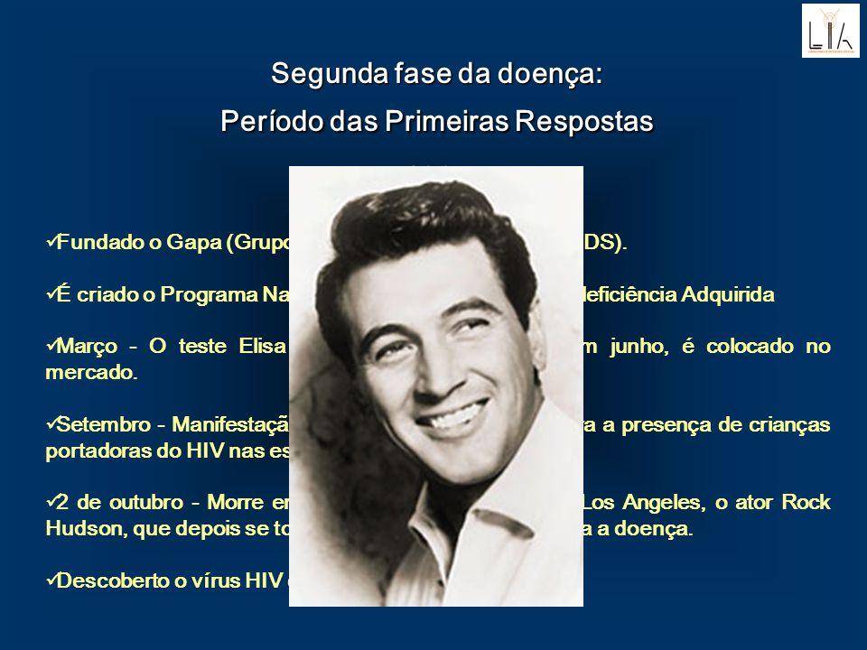 1985 Fundado o Gapa (Grupo de Apio aos Portadores de AIDS). É criado o Programa Nacional da Síndrome da Imunodeficiência Adquirida Março - O teste Eli