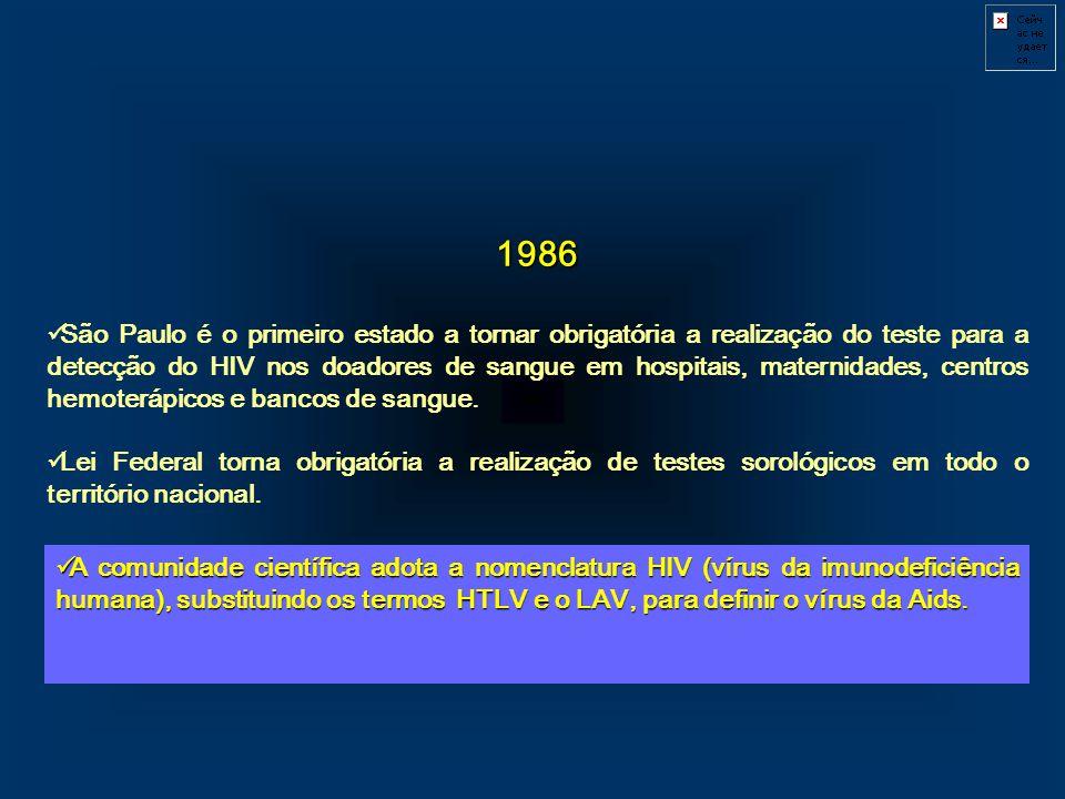 1986 São Paulo é o primeiro estado a tornar obrigatória a realização do teste para a detecção do HIV nos doadores de sangue em hospitais, maternidades