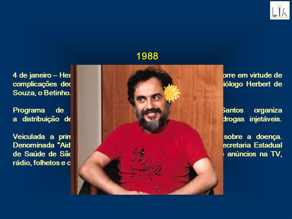 1988 4 de janeiro – Henfil, um dos principais cartunistas brasileiros, morre em virtude de complicações decorrentes da Aids. Hemofílico e irmão do soc