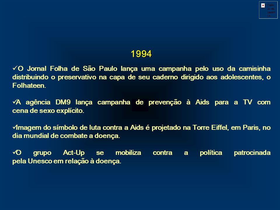 1994 O Jornal Folha de São Paulo lança uma campanha pelo uso da camisinha distribuindo o preservativo na capa de seu caderno dirigido aos adolescentes