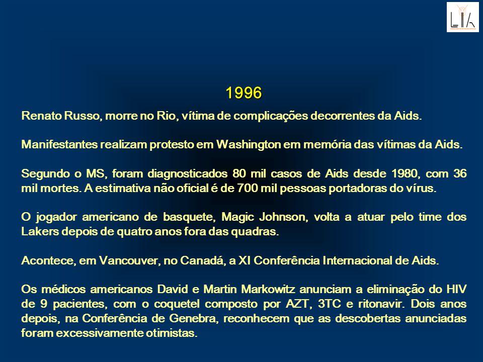 1996 Renato Russo, morre no Rio, vítima de complicações decorrentes da Aids. Manifestantes realizam protesto em Washington em memória das vítimas da A