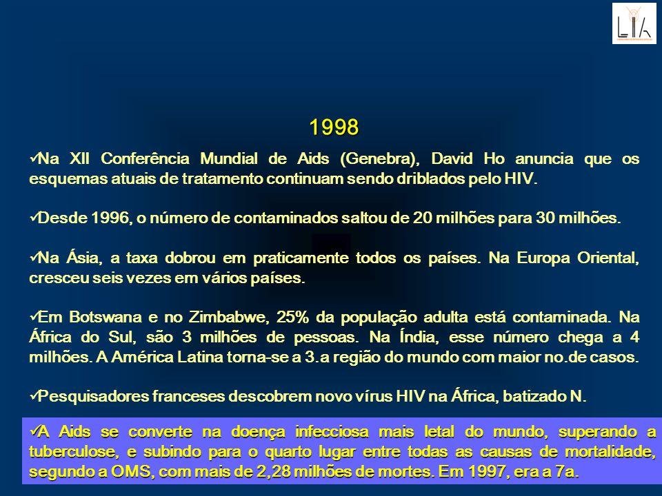 1998 Na XII Conferência Mundial de Aids (Genebra), David Ho anuncia que os esquemas atuais de tratamento continuam sendo driblados pelo HIV. Desde 199