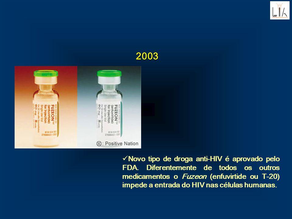 2003 Novo tipo de droga anti-HIV é aprovado pelo FDA. Diferentemente de todos os outros medicamentos o Fuzeon (enfuvirtide ou T-20) impede a entrada d