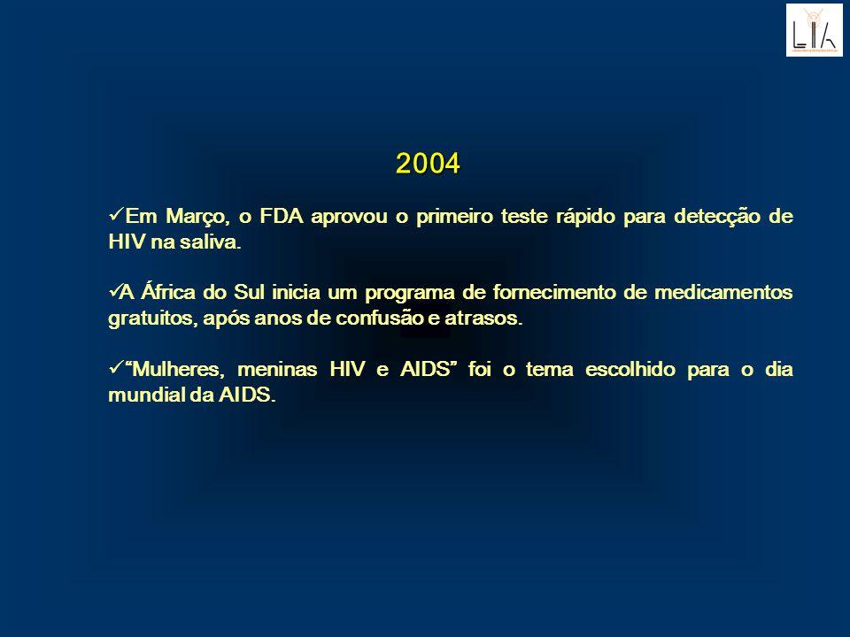 2004 Em Março, o FDA aprovou o primeiro teste rápido para detecção de HIV na saliva. A África do Sul inicia um programa de fornecimento de medicamento