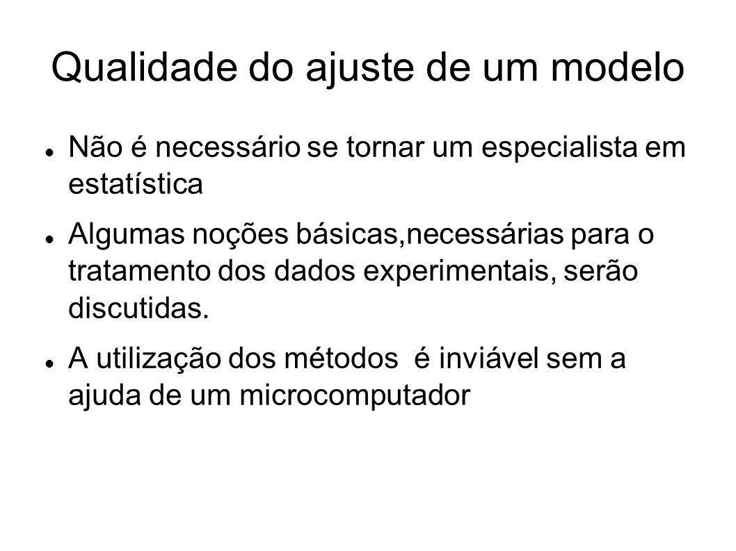 Qualidade do ajuste de um modelo Não é necessário se tornar um especialista em estatística Algumas noções básicas,necessárias para o tratamento dos da