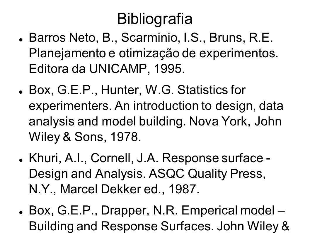 Bibliografia Barros Neto, B., Scarminio, I.S., Bruns, R.E. Planejamento e otimização de experimentos. Editora da UNICAMP, 1995. Box, G.E.P., Hunter, W