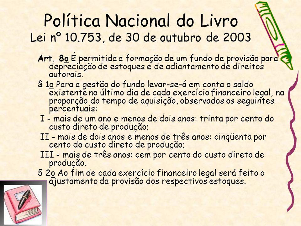 Política Nacional do Livro Lei nº 10.753, de 30 de outubro de 2003 Art. 8o É permitida a formação de um fundo de provisão para depreciação de estoques