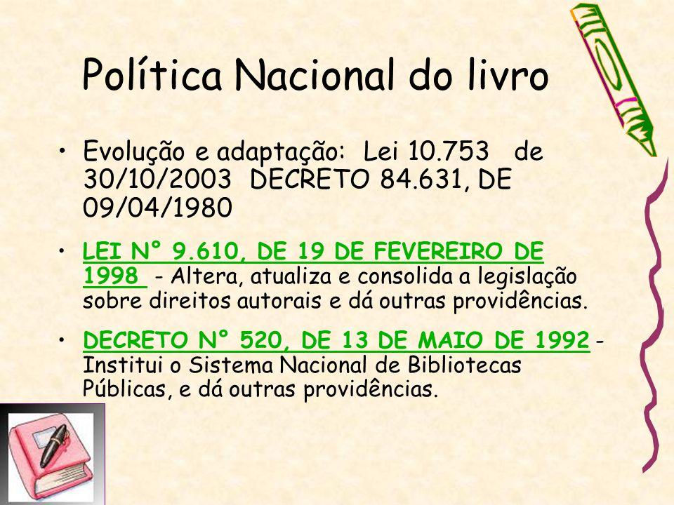 Política Nacional do livro Evolução e adaptação: Lei 10.753 de 30/10/2003 DECRETO 84.631, DE 09/04/1980 LEI N° 9.610, DE 19 DE FEVEREIRO DE 1998 - Alt