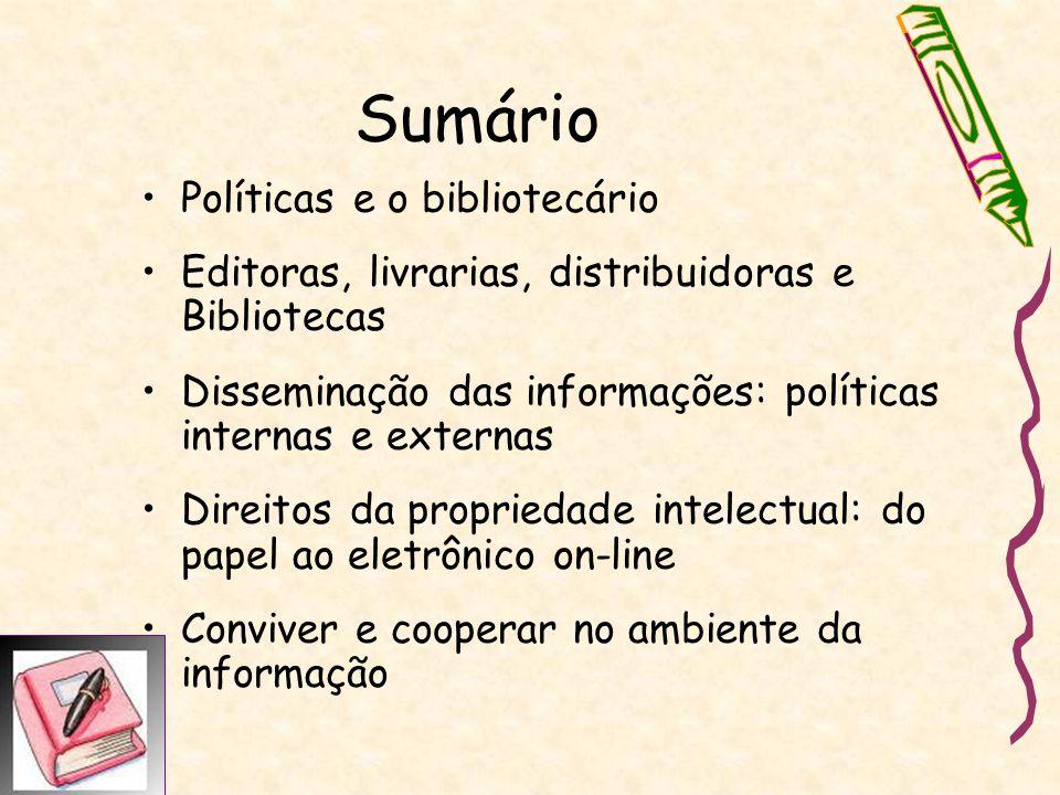 Políticas e o bibliotecário Evolução e adaptação: Leis 5191 13/12/1966, Lei 10753 de 30/10/2003 DECRETO 84.631, DE 09/04/1980 – http://wwwt.senado.gov.br/legbras/ http://wwwt.senado.gov.br/legbras/ Perfil profissional: ética, trabalho com reflexão crítica, presteza, dedicação, colaboração, cooperação, solidariedade, prudência, paciência.
