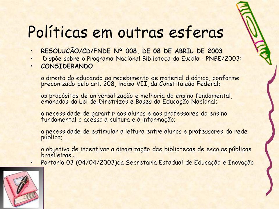 Políticas em outras esferas RESOLUÇÃO/CD/FNDE Nº 008, DE 08 DE ABRIL DE 2003 Dispõe sobre o Programa Nacional Biblioteca da Escola - PNBE/2003: CONSID
