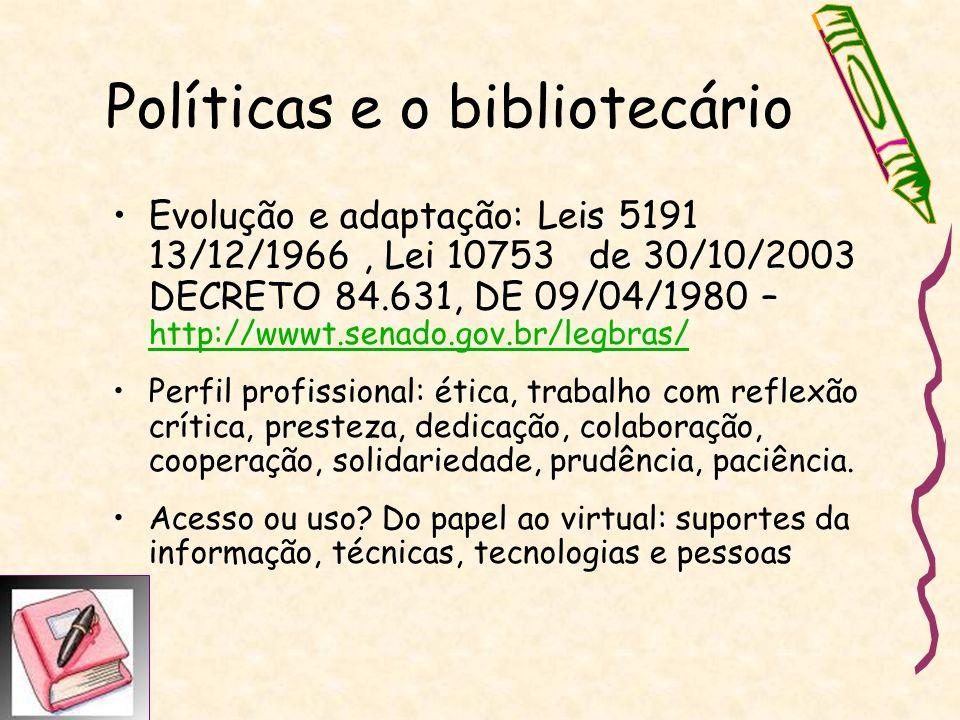 Políticas e o bibliotecário Evolução e adaptação: Leis 5191 13/12/1966, Lei 10753 de 30/10/2003 DECRETO 84.631, DE 09/04/1980 – http://wwwt.senado.gov