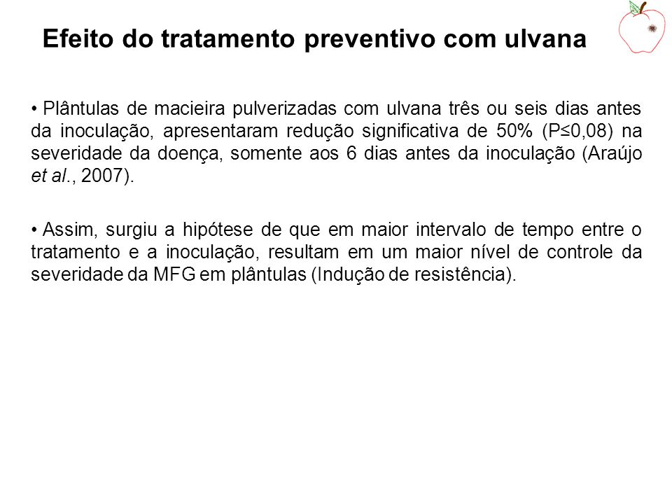 Efeito do tratamento preventivo com ulvana Plântulas de macieira pulverizadas com ulvana três ou seis dias antes da inoculação, apresentaram redução significativa de 50% (P0,08) na severidade da doença, somente aos 6 dias antes da inoculação (Araújo et al., 2007).