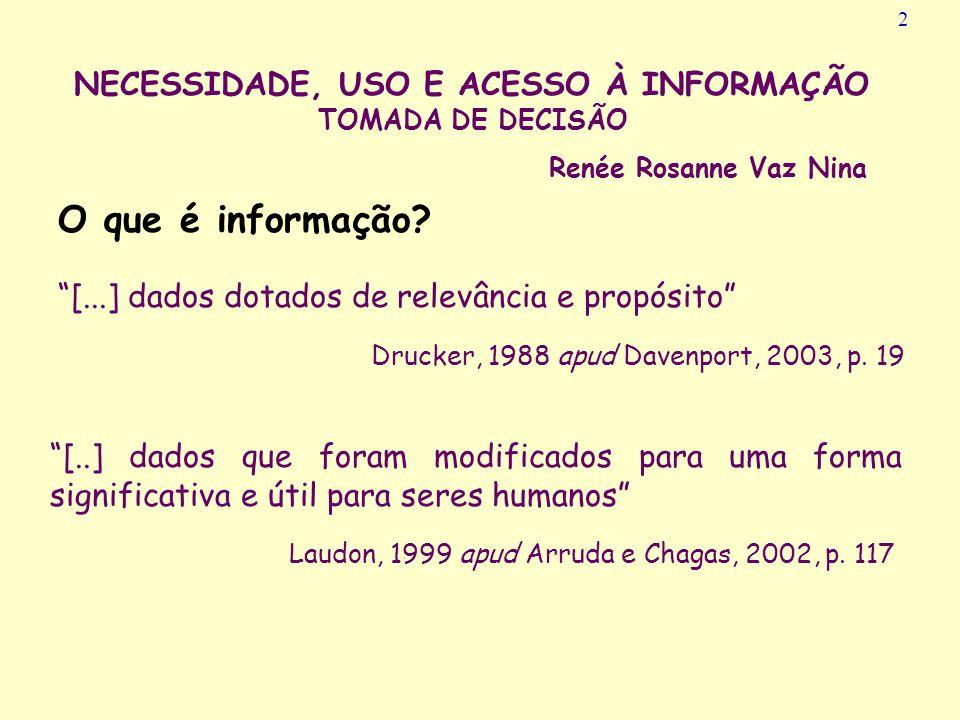 NECESSIDADE, USO E ACESSO À INFORMAÇÃO TOMADA DE DECISÃO Universidade Federal de Santa Catarina Centro de Ciências da Educação PROGRAMA DE PÓS-GRADUAÇ
