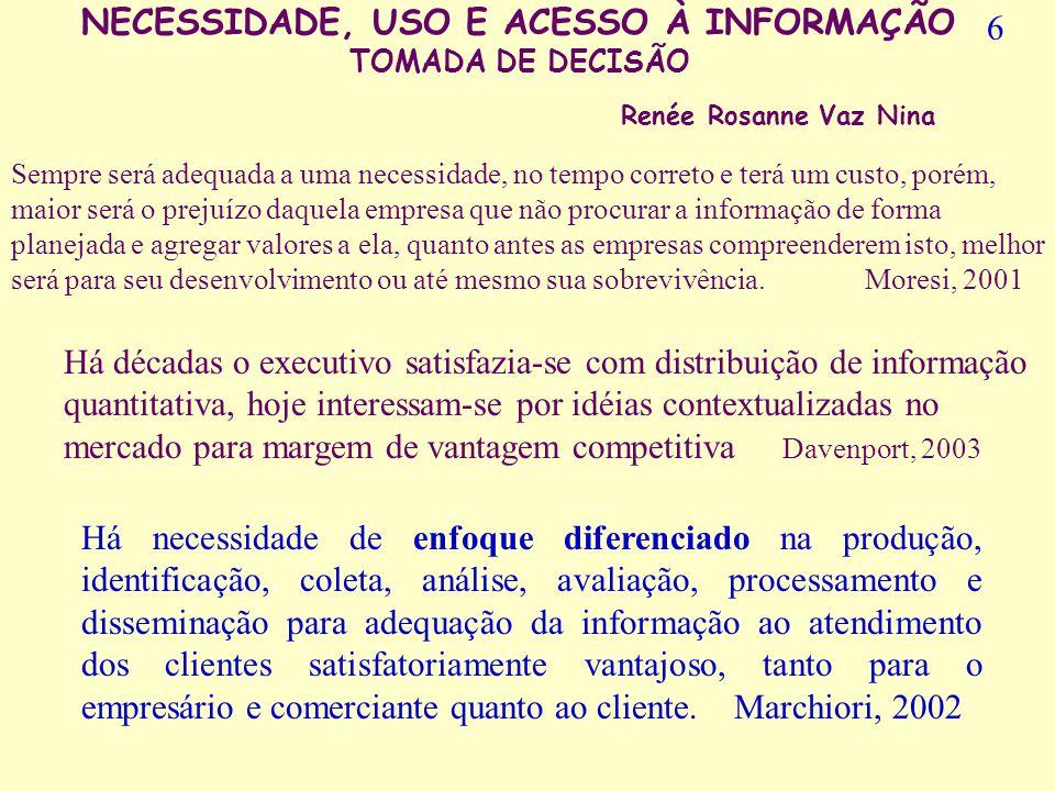 NECESSIDADE, USO E ACESSO À INFORMAÇÃO TOMADA DE DECISÃO Renée Rosanne Vaz Nina Figura1 – Classificação da informação segundo sua finalidade para uma organização adaptada de Amara, 1994 (apud MORESI, 2000, p.