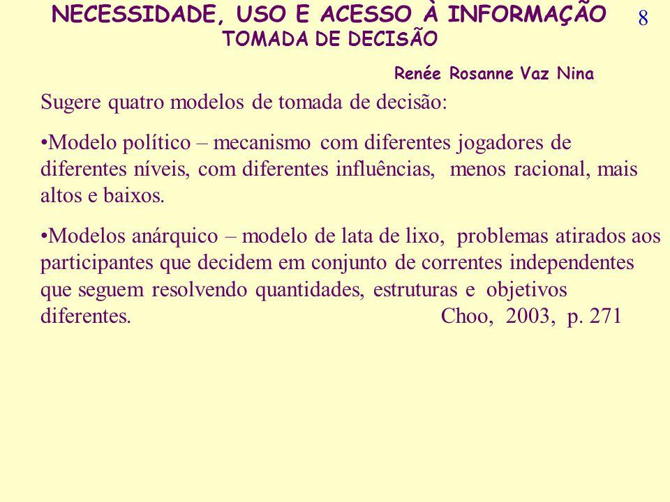 NECESSIDADE, USO E ACESSO À INFORMAÇÃO TOMADA DE DECISÃO Renée Rosanne Vaz Nina A Tomada de decisãoé consequência de um questionamento que se predispõe a uma solução...segundo Choo (2003, p.