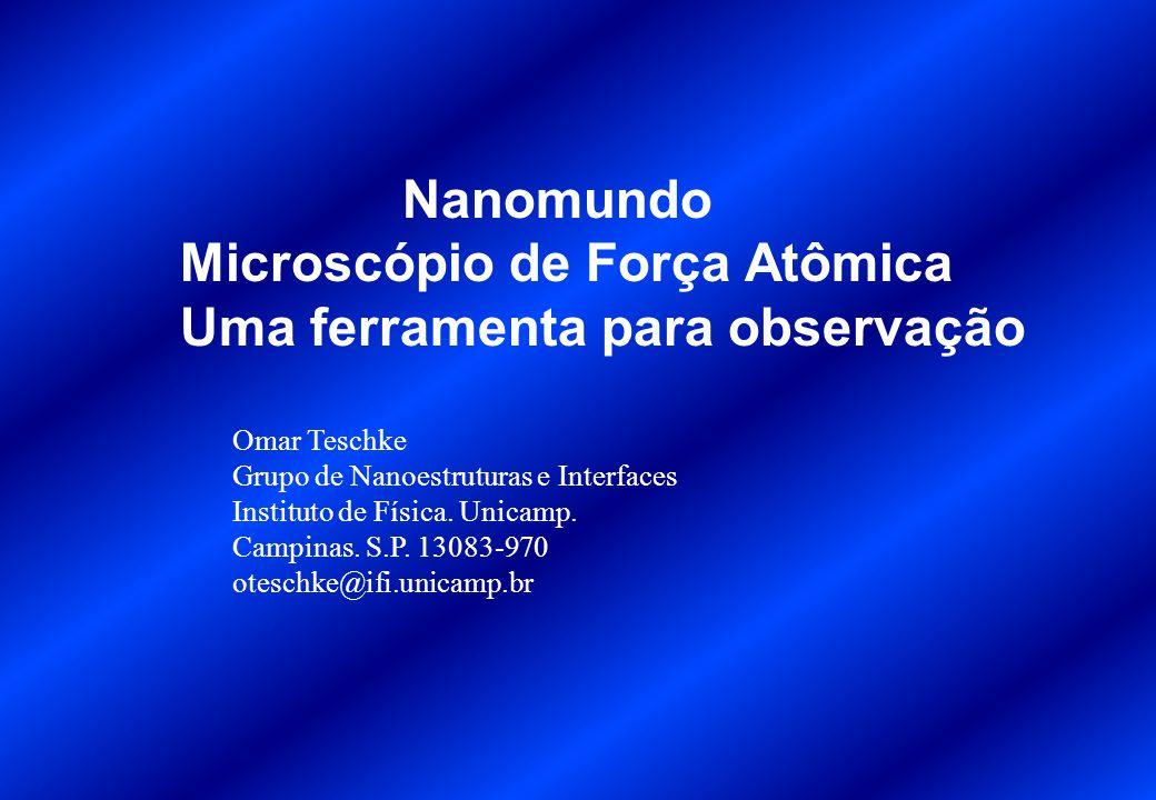 1 – Funcionamento do Microscópio de Força Atômica 2 – Técnicas de observação 3 – Nanomundo: Estado Sólido: grafite Area biologica: DNA Celulas: E.