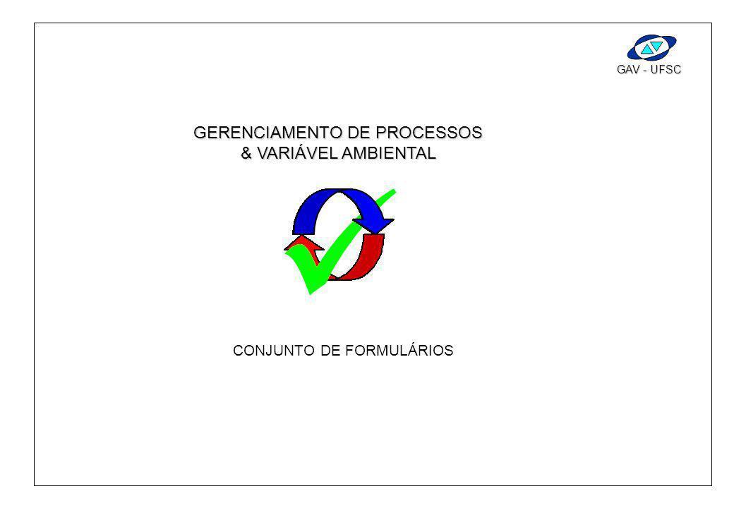 FormulárioAssuntoEmpresa GAV - UFSC C IA etapa GAV - UFSC GERENCIAMENTO DE PROCESSOS & VARIÁVEL AMBIENTAL CONJUNTO DE FORMULÁRIOS