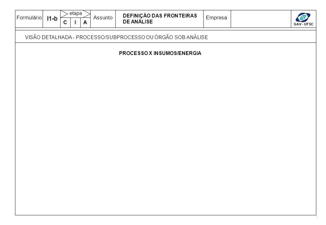 FormulárioAssuntoEmpresa GAV - UFSC C IA etapa I1-b VISÃO DETALHADA - PROCESSO/SUBPROCESSO OU ÓRGÃO SOB ANÁLISE DEFINIÇÃO DAS FRONTEIRAS DE ANÁLISE PROCESSO X INSUMOS/ENERGIA
