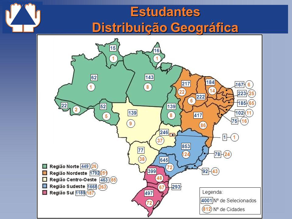 Estudantes Distribuição Geográfica 62 853 1 22 2 124 417 463 85 1668 263 1189 187 1792 251 449 26 52 15 139 143 246 77 139 217 16 222 184 645 399 497