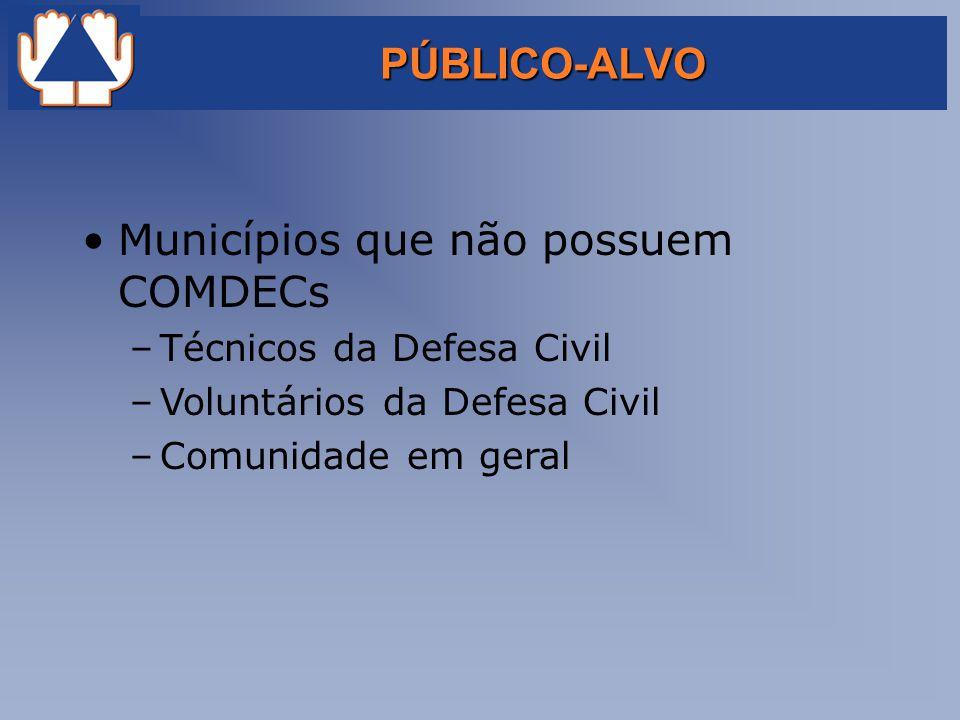 PÚBLICO-ALVO Municípios que não possuem COMDECs –Técnicos da Defesa Civil –Voluntários da Defesa Civil –Comunidade em geral