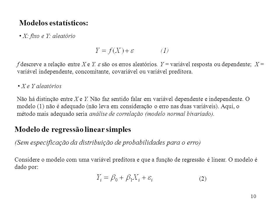 10 Modelos estatísticos: X: fixo e Y: aleatório f descreve a relação entre X e Y. são os erros aleatórios. Y = variável resposta ou dependente; X = va