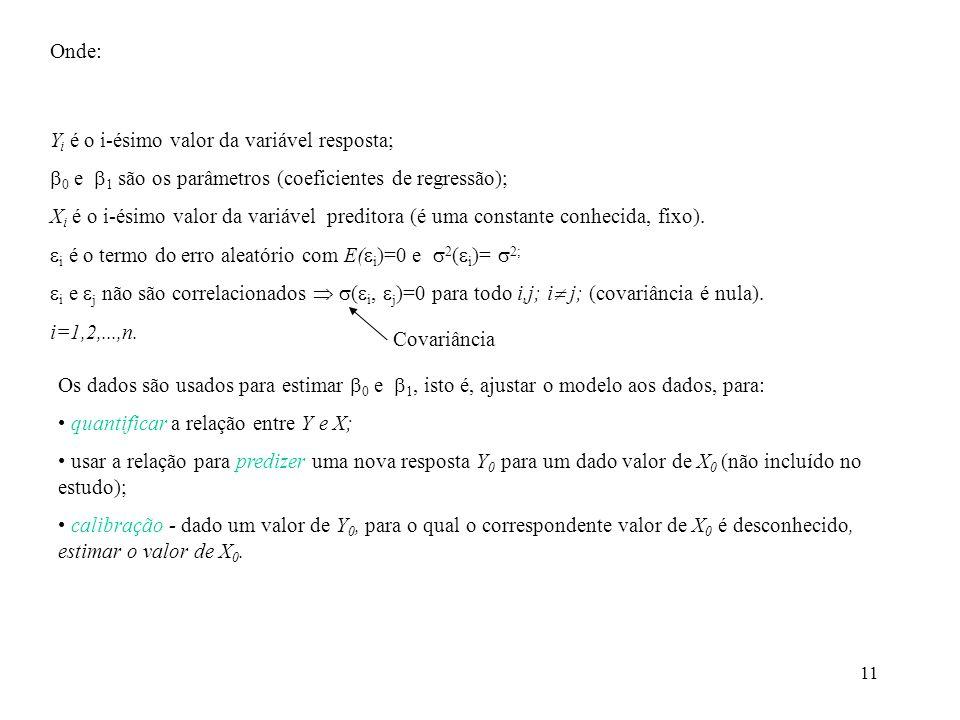 11 Onde: Y i é o i-ésimo valor da variável resposta; 0 e 1 são os parâmetros (coeficientes de regressão); X i é o i-ésimo valor da variável preditora (é uma constante conhecida, fixo).