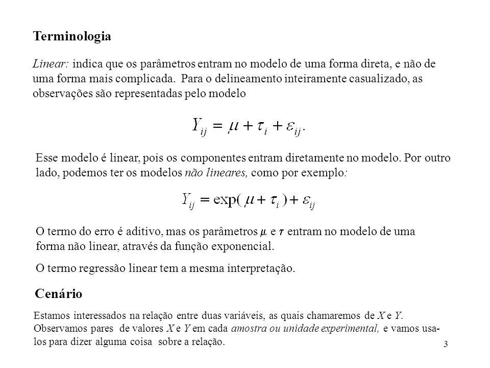 3 Terminologia Linear: indica que os parâmetros entram no modelo de uma forma direta, e não de uma forma mais complicada. Para o delineamento inteiram