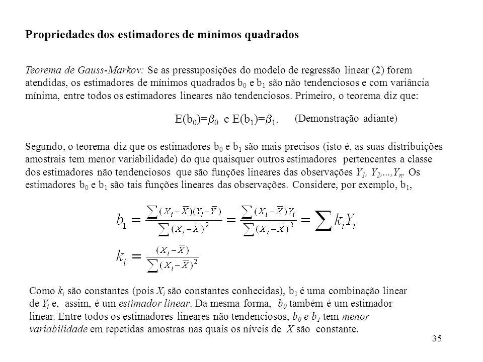 35 Propriedades dos estimadores de mínimos quadrados Teorema de Gauss-Markov: Se as pressuposições do modelo de regressão linear (2) forem atendidas,