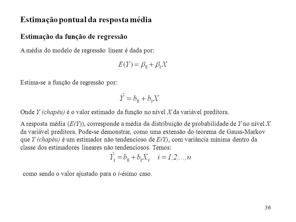 36 Estimação pontual da resposta média Estimação da função de regressão A média do modelo de regressão linear é dada por: Estima-se a função de regres