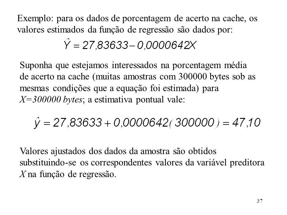 37 Exemplo: para os dados de porcentagem de acerto na cache, os valores estimados da função de regressão são dados por: Suponha que estejamos interessados na porcentagem média de acerto na cache (muitas amostras com 300000 bytes sob as mesmas condições que a equação foi estimada) para X=300000 bytes; a estimativa pontual vale: Valores ajustados dos dados da amostra são obtidos substituindo-se os correspondentes valores da variável preditora X na função de regressão.