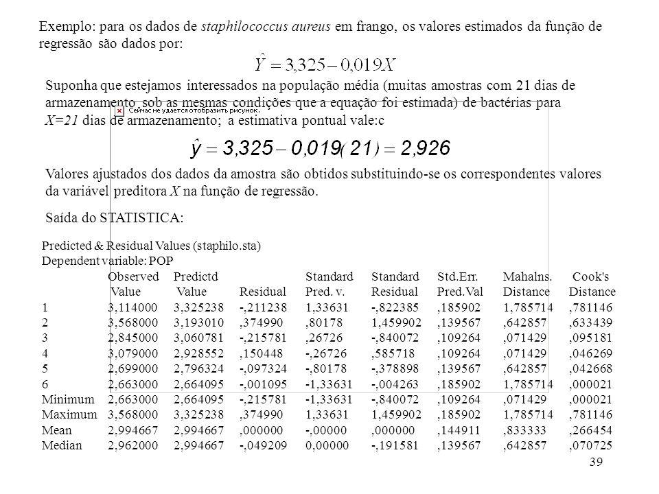 39 Suponha que estejamos interessados na população média (muitas amostras com 21 dias de armazenamento sob as mesmas condições que a equação foi estimada) de bactérias para X=21 dias de armazenamento; a estimativa pontual vale:c Valores ajustados dos dados da amostra são obtidos substituindo-se os correspondentes valores da variável preditora X na função de regressão.
