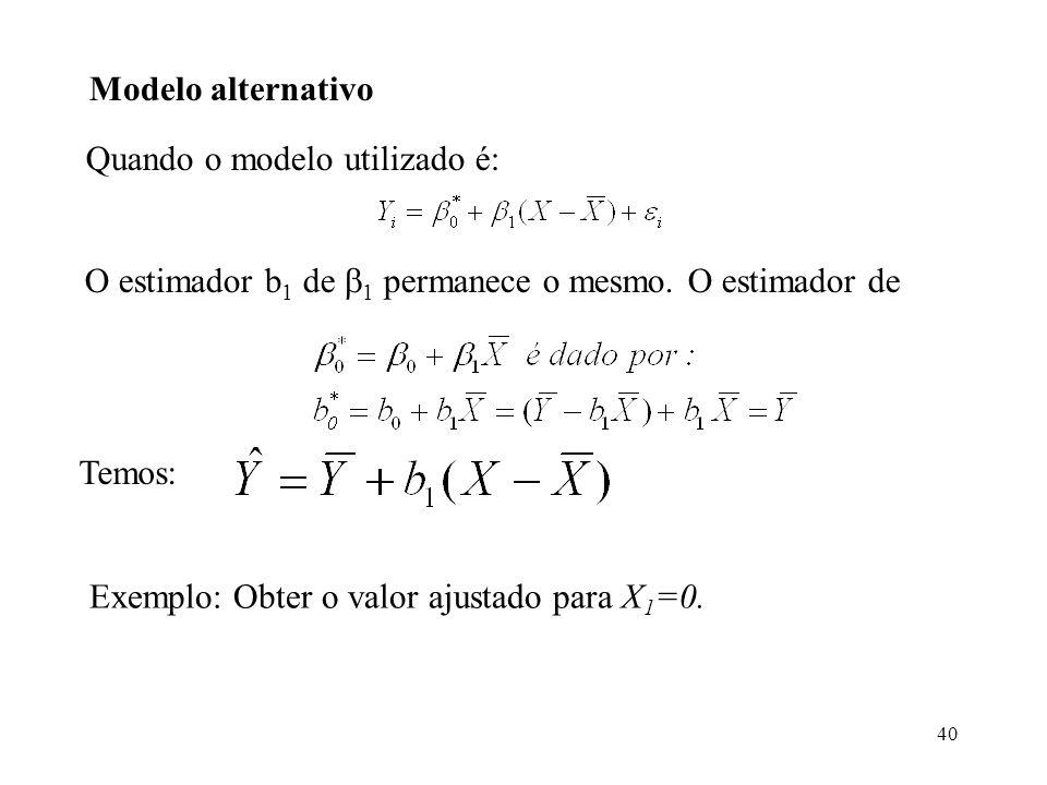 40 Modelo alternativo Quando o modelo utilizado é: O estimador b 1 de 1 permanece o mesmo. O estimador de Temos: Exemplo: Obter o valor ajustado para