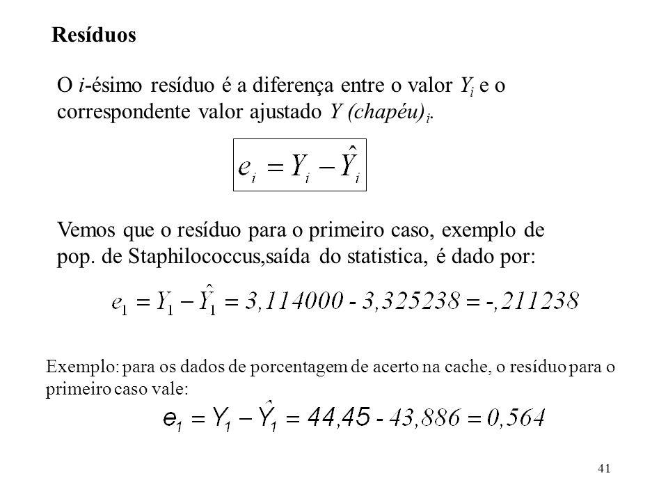 41 Resíduos O i-ésimo resíduo é a diferença entre o valor Y i e o correspondente valor ajustado Y (chapéu) i. Vemos que o resíduo para o primeiro caso