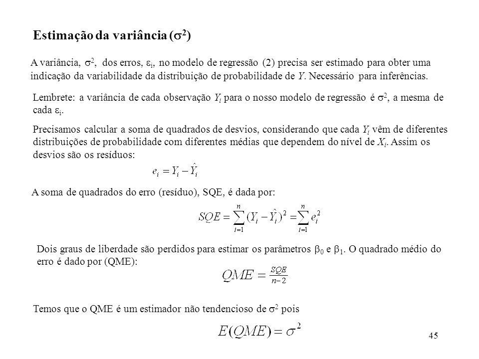 45 Estimação da variância ( 2 ) A variância, 2, dos erros, i, no modelo de regressão (2) precisa ser estimado para obter uma indicação da variabilidade da distribuição de probabilidade de Y.