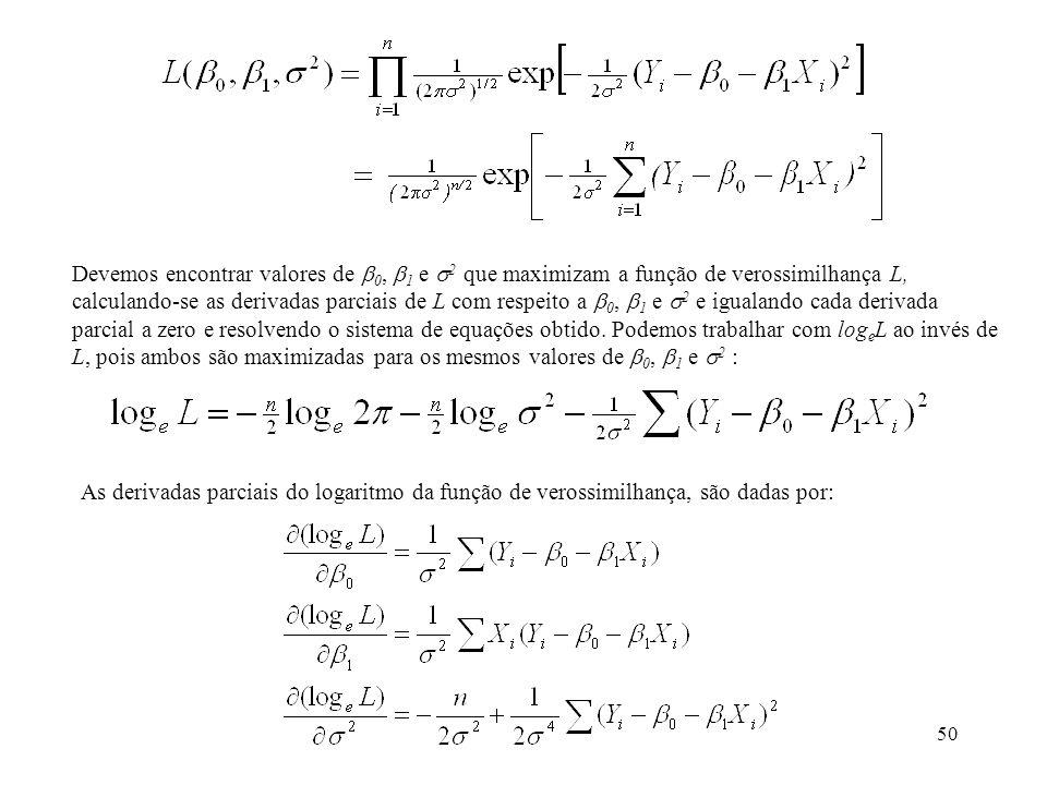 50 Devemos encontrar valores de 0, 1 e 2 que maximizam a função de verossimilhança L, calculando-se as derivadas parciais de L com respeito a 0, 1 e 2 e igualando cada derivada parcial a zero e resolvendo o sistema de equações obtido.