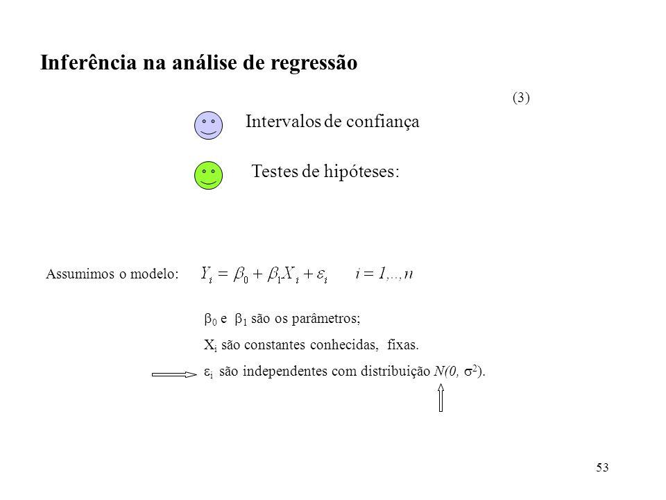 53 Inferência na análise de regressão Assumimos o modelo: 0 e 1 são os parâmetros; X i são constantes conhecidas, fixas. i são independentes com distr