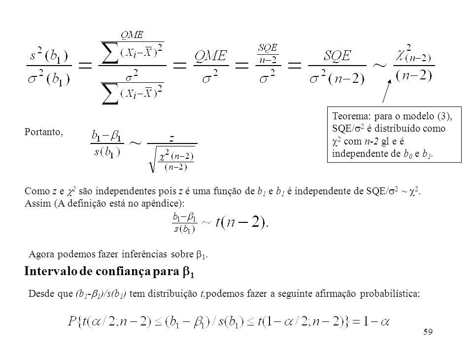 59 Portanto, Como z e 2 são independentes pois z é uma função de b 1 e b 1 é independente de SQE/ 2 ~ 2. Assim (A definição está no apêndice): Interva