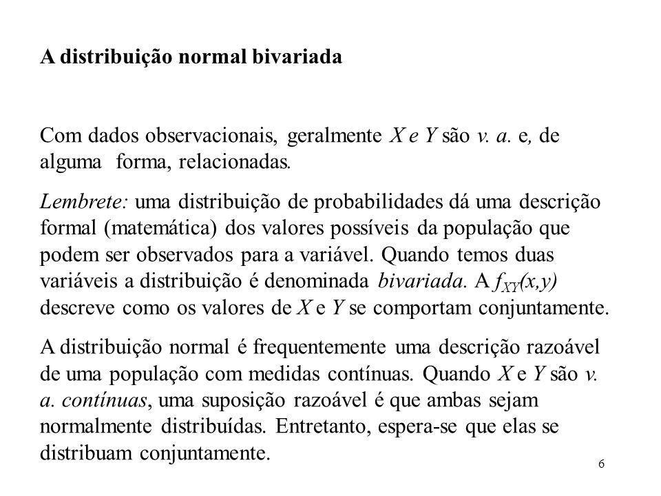 6 A distribuição normal bivariada Com dados observacionais, geralmente X e Y são v. a. e, de alguma forma, relacionadas. Lembrete: uma distribuição de