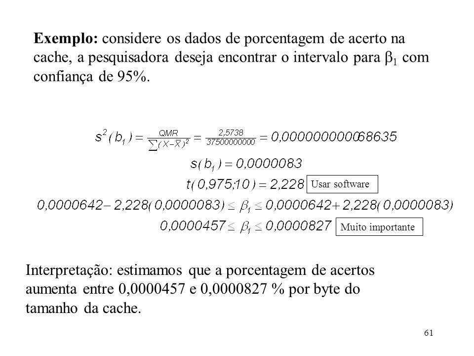 61 Exemplo: considere os dados de porcentagem de acerto na cache, a pesquisadora deseja encontrar o intervalo para 1 com confiança de 95%. Muito impor