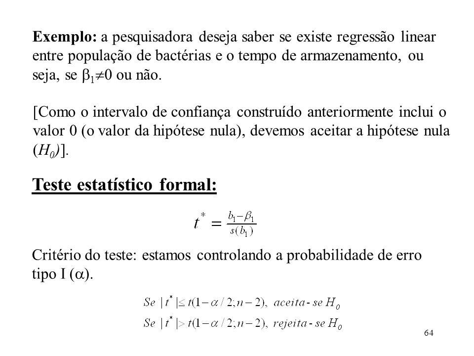64 Critério do teste: estamos controlando a probabilidade de erro tipo I ( ). Teste estatístico formal: [Como o intervalo de confiança construído ante