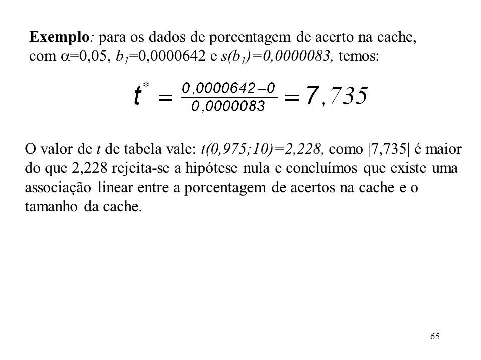 65 Exemplo: para os dados de porcentagem de acerto na cache, com =0,05, b 1 =0,0000642 e s(b 1 )=0,0000083, temos: O valor de t de tabela vale: t(0,975;10)=2,228, como |7,735| é maior do que 2,228 rejeita-se a hipótese nula e concluímos que existe uma associação linear entre a porcentagem de acertos na cache e o tamanho da cache.