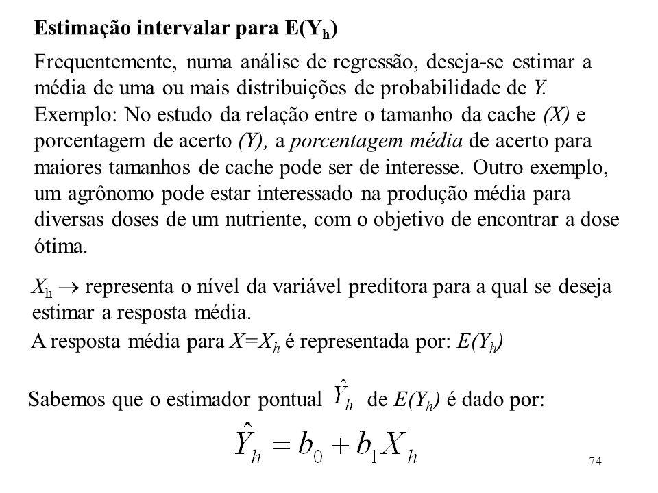 74 Estimação intervalar para E(Y h ) Frequentemente, numa análise de regressão, deseja-se estimar a média de uma ou mais distribuições de probabilidade de Y.