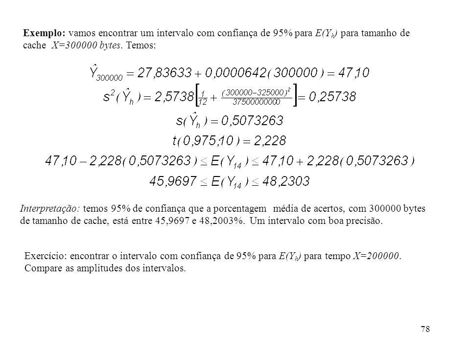 78 Exemplo: vamos encontrar um intervalo com confiança de 95% para E(Y h ) para tamanho de cache X=300000 bytes. Temos: Interpretação: temos 95% de co