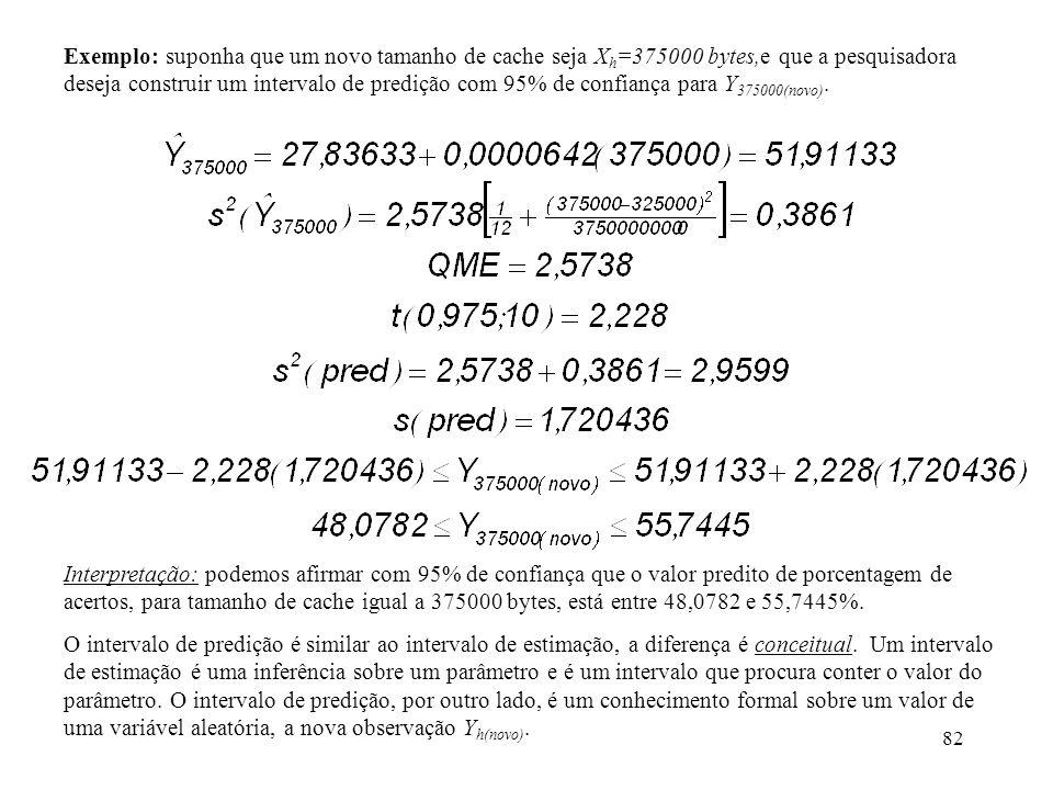 82 Exemplo: suponha que um novo tamanho de cache seja X h =375000 bytes,e que a pesquisadora deseja construir um intervalo de predição com 95% de confiança para Y 375000(novo).
