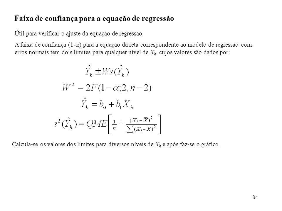 84 Faixa de confiança para a equação de regressão Útil para verificar o ajuste da equação de regressão. A faixa de confiança (1- ) para a equação da r