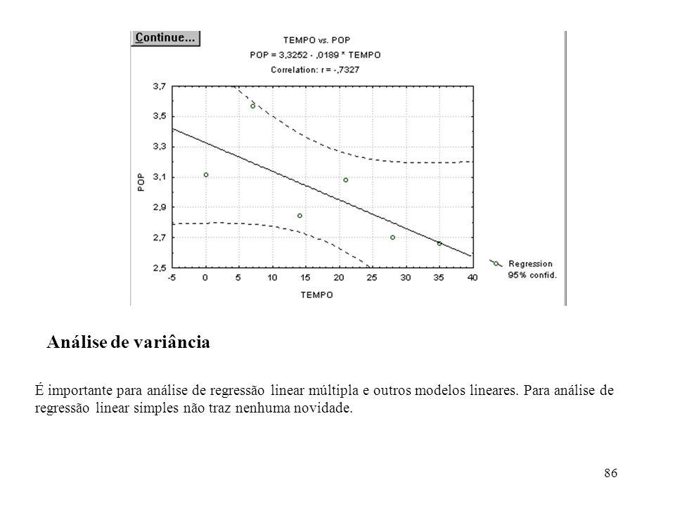 86 Análise de variância É importante para análise de regressão linear múltipla e outros modelos lineares. Para análise de regressão linear simples não